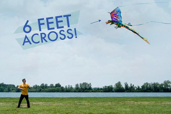 Man flying a 6-foot 3D Dragon Kite.