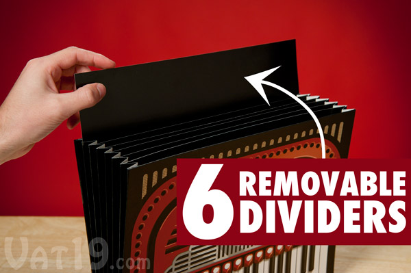 The Accordion File features six removable dividers.