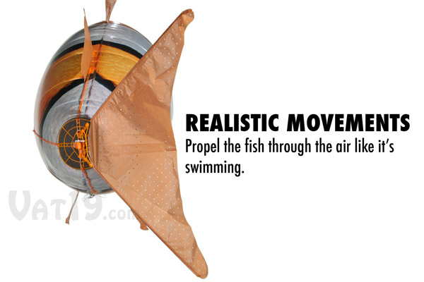 You control the wag of the tail to produce realistic swimming motions.