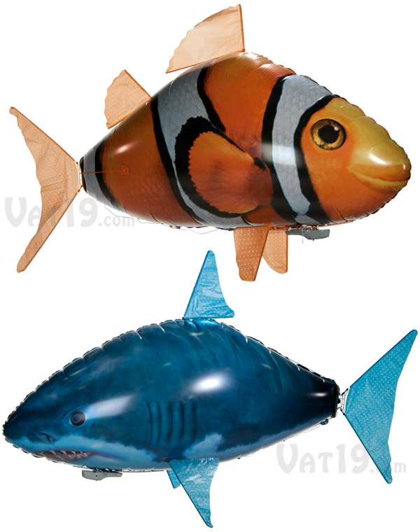 Air Swimmers are currently available in two styles: Clownfish and Shark.