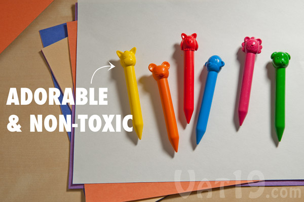 Animal Crayons are non-toxic and conform to ASTM D-4236.