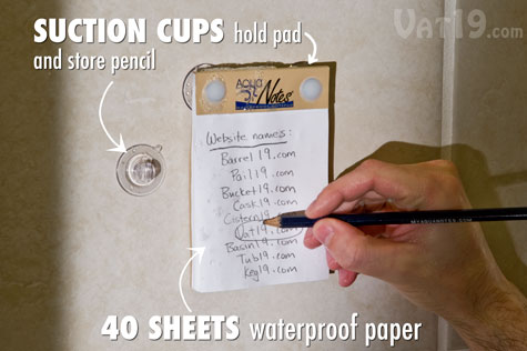 Jot down notes in the shower with the Aquanotes Waterproof Notepad.