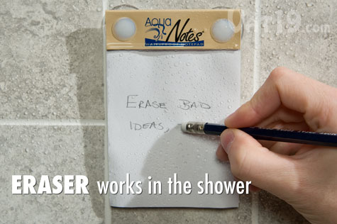 Even when wet, you can erase on the waterproof paper Aquanotes Notepad.