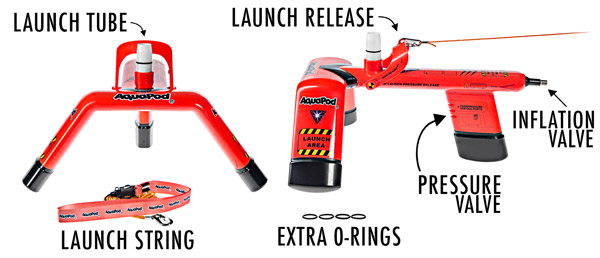 Description of the features of the Aquapod Bottle Launcher.