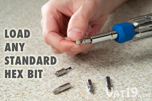 You can load the AutoLoader Auto-Loading Multi-Bit Screwdriver with any six bits you wish.