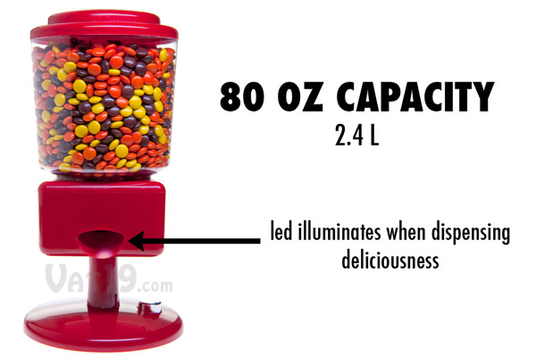 The Candy Wizard Automatic Candy Dispenser features an 80 ounce capacity as well as light-up dispenser area.