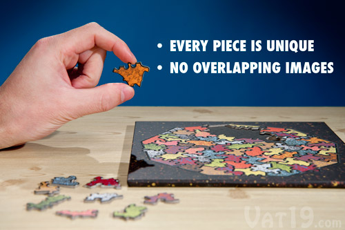 Each of the pieces in the Baffler Puzzle is a unique shape.