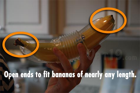 The Banana Bunker banana container has open ends so that it can fit bananas of nearly any length.
