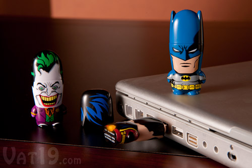 The DC Comic Mimobot flash drive line features Batman, Robin, and Joker USB drives.