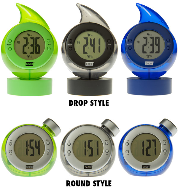 Water-Powered clocks by Bedol are available in several styles and colors.