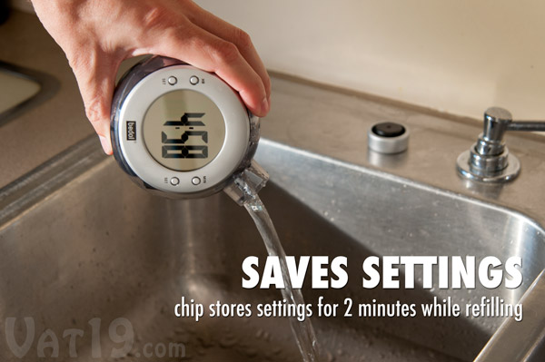 A memory chip retains your settings for up to two minutes while changing water.
