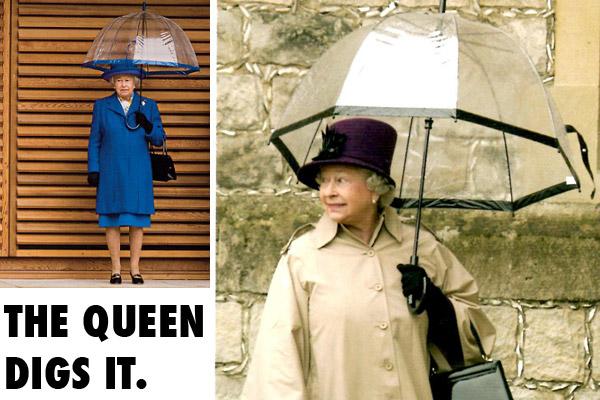 Queen of England with Fulton Birdcage Umbrellas