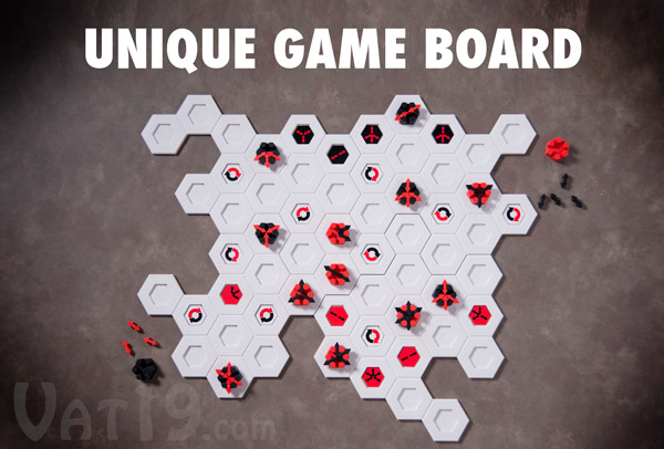 Blindside employs a unique game board featuring four interlocking pieces.