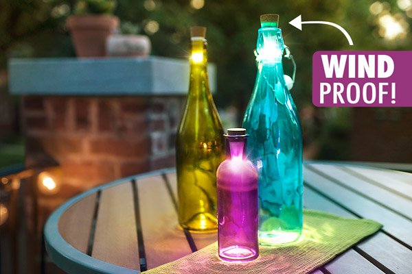 Bottle Lights are perfect for outdoor illumination since they are wind proof.
