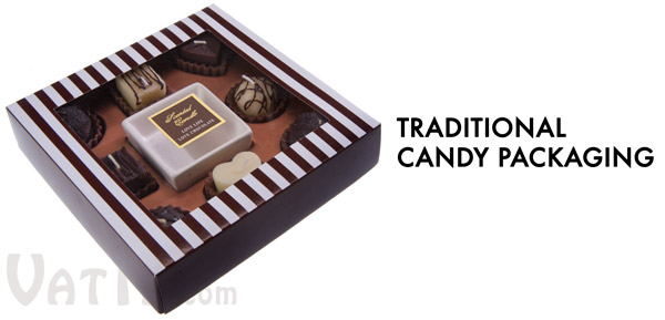 The Box of Chocolate Candles comes in traditional candy packaging.
