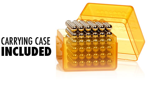 Each BuckyBalls Cube comes with its own plastic carrying case.