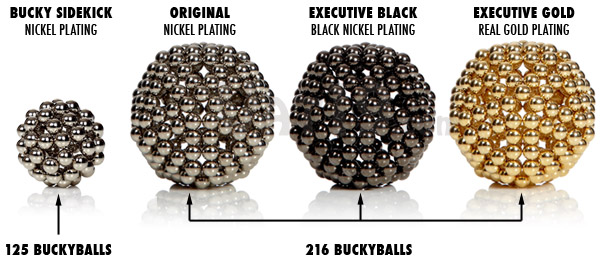 The BuckyBalls Magnetic DeskToy is available in three styles: original nickel BuckyBalls, black nickel BuckyBalls, and gold BuckyBalls.