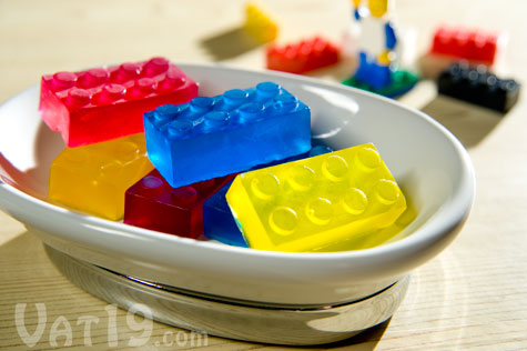 Building Block Soaps in a soap dish.