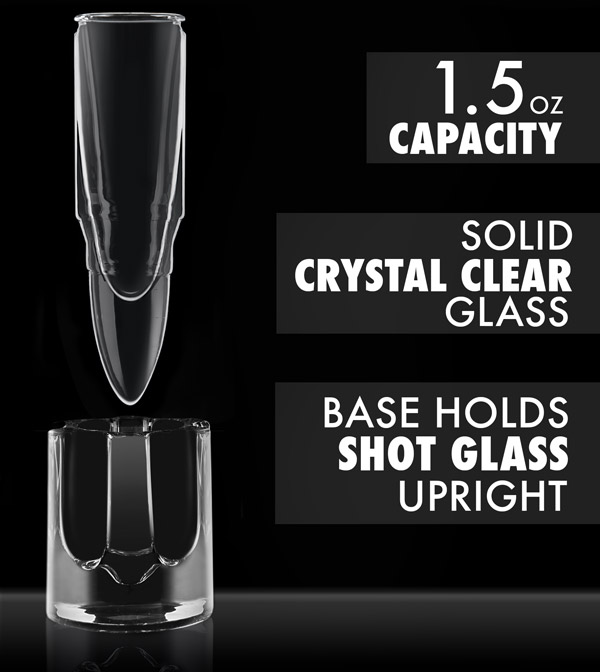 Features of the .50 Caliber Bullet Shot Glass are explained in this graphic.