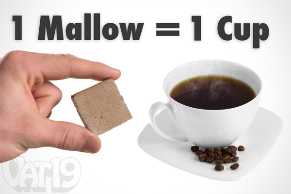 Each Caffex Caffeinated Marshmallow Snack is equivalent to a cup of coffee.