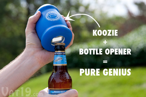 Cap-a-Cooz is a koozie with an integrated bottle opener.