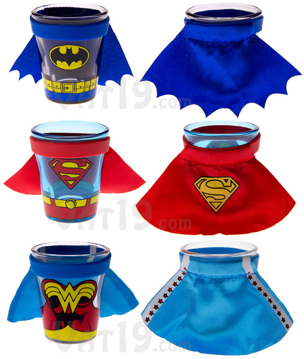 Superhero Shot Glasses are available in a variety of styles.