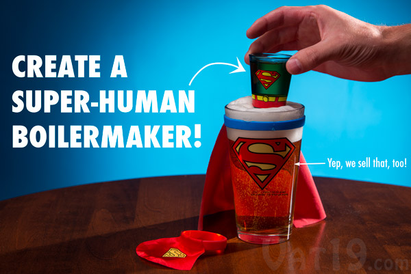 Combine our Caped Shot Glasses with our Caped Pint Glasses for the ultimate Superhero drinking experience.