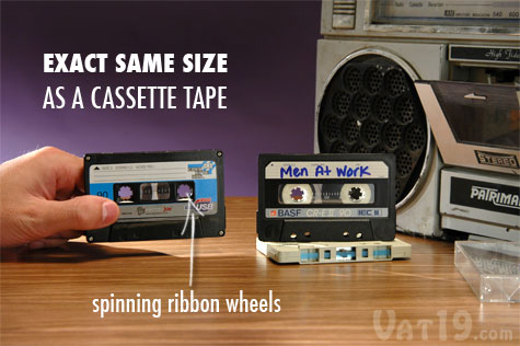 The Cassette Tape USB 4-port Hub is the exact same size as an audio cassette tape.