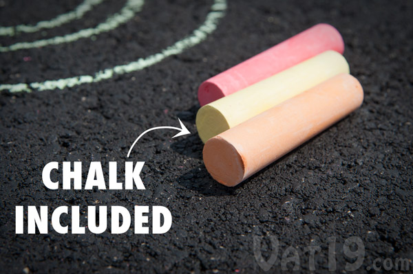 All Chalk City products come packaged with sidewalk chalk.