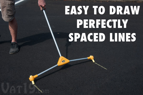 Quickly and easily draw perfectly straight lines with the Chalk City Road Maker.