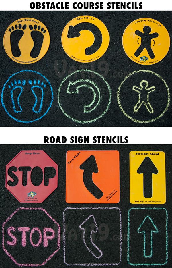 Choose from two sidewalk stencil sets.
