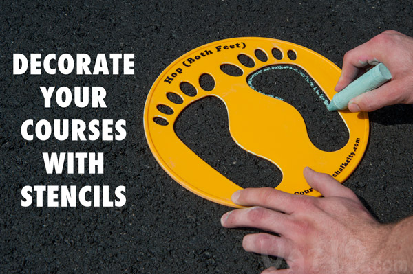 Decorate your sidewalk chalk courses with the Chalk City Stencil Sets.