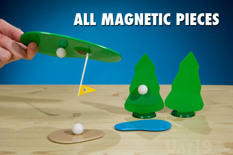 All of the pieces of the Chip Shotz Desktop Golf Game are magnetic.