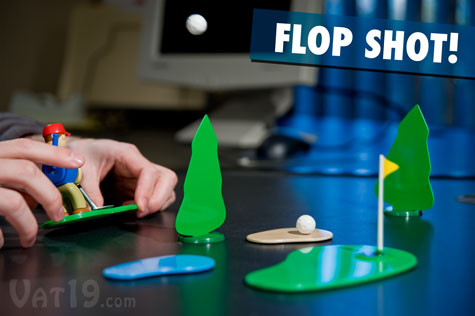 Get crazy and hit insane flop shots with the Chip Shotz mini desktop golf game.