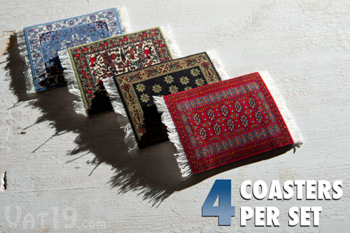 Each pack of CoasterRugs includes four drink coasters.