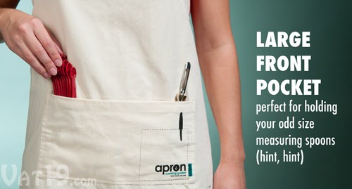 The Cooking Guide Apron features a large front pocket.