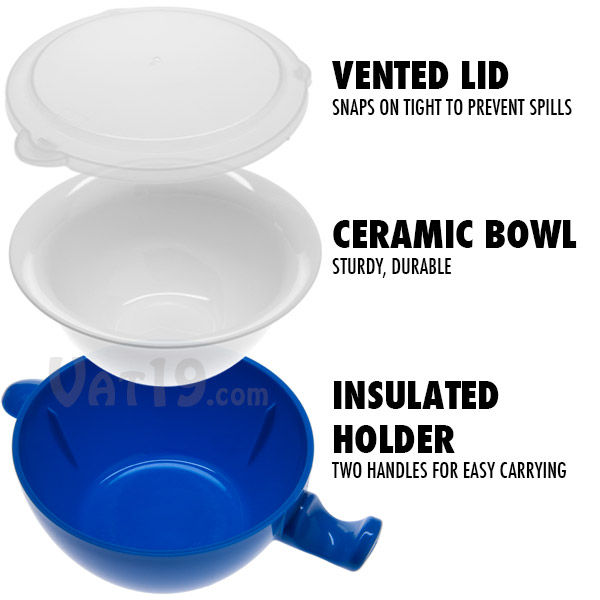 The Cool Touch Microwave Bowl features a plastic insulated holder, a durable ceramic bowl, and a vented lid.