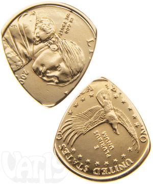 Golden Dollar Coin Guitar Pick