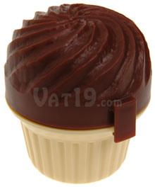 Cupcase Cupcake Holder with chocolate frosting and vanilla cake bottom