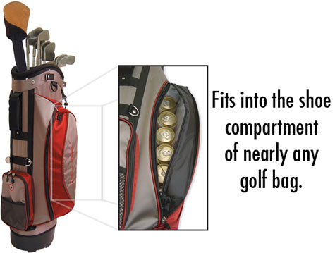 The Covert Cooler fits into the shoe compartment of nearly any golf bag.