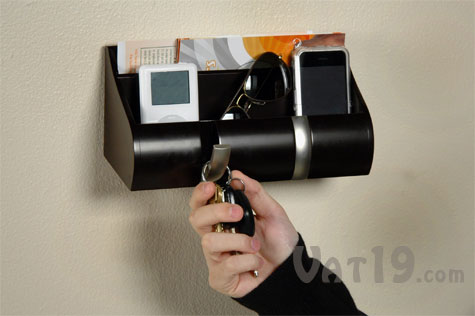 Cubby Wall Organizer with two flip-down hooks