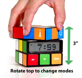 Cube Clock works by twisting the top