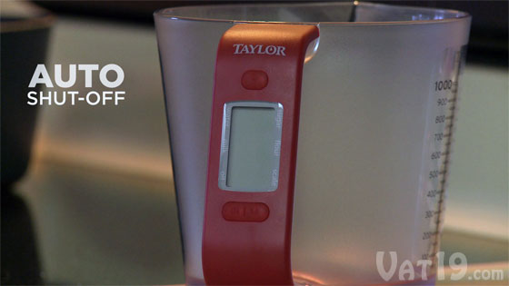 Conserve the Digital Measuring Cup and Scale's battery with the auto shut-off function.