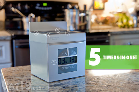 DoneRight Digital Kitchen Timer has four timers to correspond to your stovetop burners and another timer for your oven.