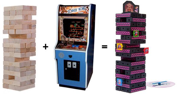 Jenga: Donkey Kong is a blend of the classic games Jenga and Donkey Kong.