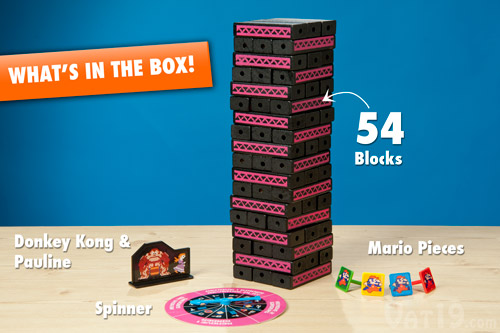 Jenga: Donkey Kong edition includes 54 blocks, 4 Mario pieces, spinner, and Donkey Kong and Pauline Piece.