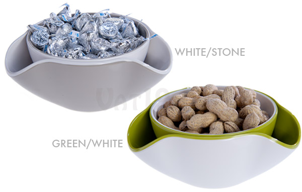 Double Dish Snack Bowl is available in a variety of color combinations.