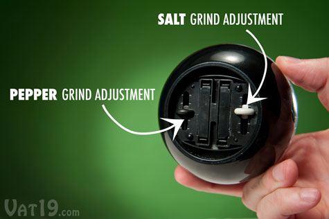Use the sliders on the bottom of the Dual Pepperball to individually adjust the grind of the salt and pepper.