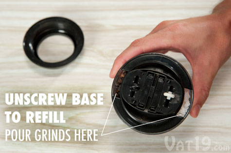 Unscrew the base of the Dual Pepperball to refill the salt and pepper.