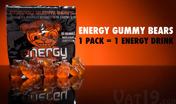 A pack of Energy Gummy Bears is equivalent to a single energy drink.